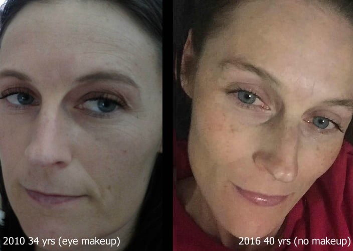 Katie before and after SISEL products. 34 years old vs 40 years old!