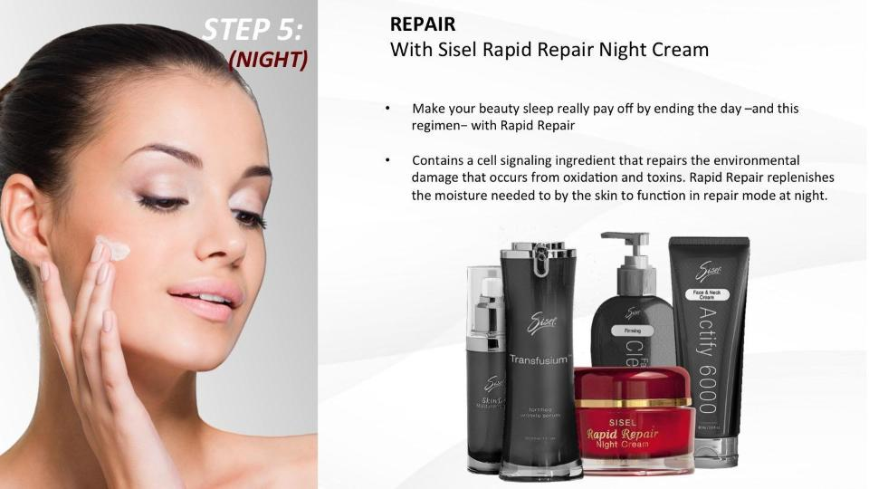 Sisel's anti aging skin care step 5 nighttime apply rapid repair
