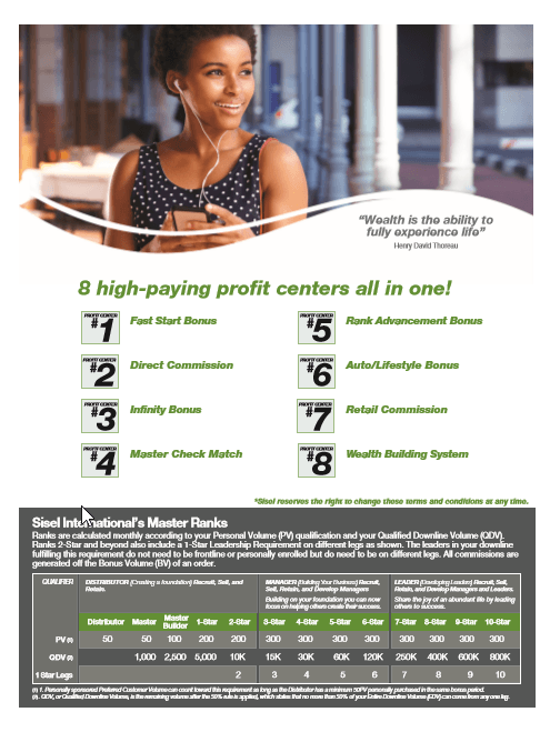 8 high paying profit centres Sisel compensation plan