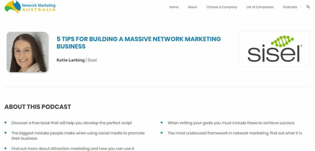 Katie Larking has been featured on Network Marketing Australia