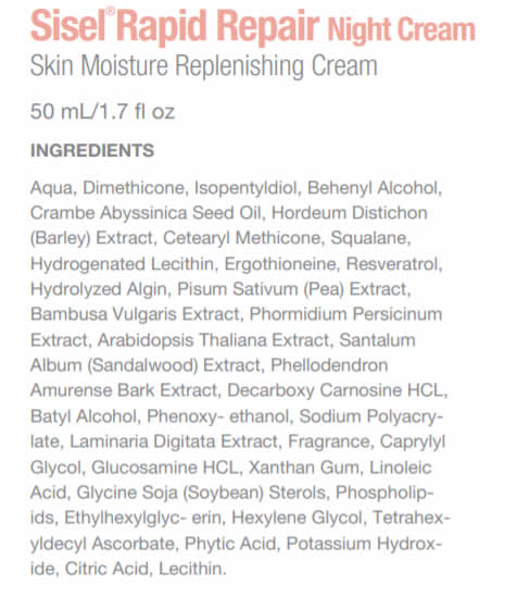 SISEL RAPID REPAIR NIGHT CREAM Ingredients