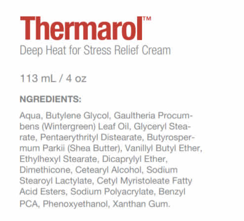 Thermarol Deep Heat for Stress Relief Cream Ingredients label